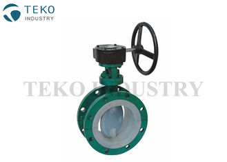 China Pure Virgin PTFE Lined Valves , Gear Operation Flanged End PTFE Lined Butterfly Valve supplier