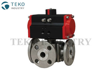 China L / T Port Three Way Soft Seated Ball Valve Multifunctional Wiith ISO 5211 Mounting Pad supplier