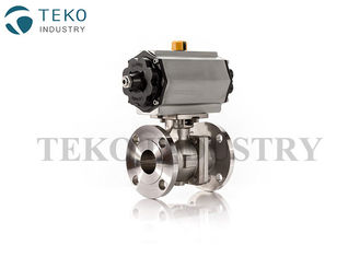 China Pneumatic Actuated Flanged Ball Valve 2 / 3 Way With Double Action Actuator supplier