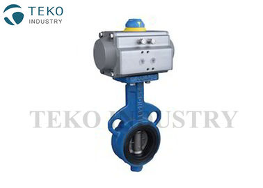 Ductile Iron Body Pneumatic Butterfly Valve Resilient Seat Anti - Leakage For Water Works