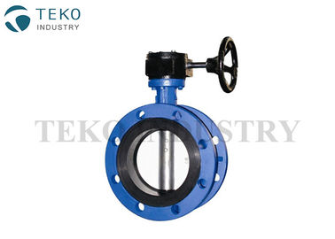 Worm Gear Operation API609 Butterfly Valve Double Flange With One Piece Through Stem