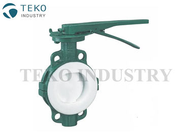 Center Lined Body PTFE Lined Valves , Wafer Connection PTFE Lined Butterfly Valve