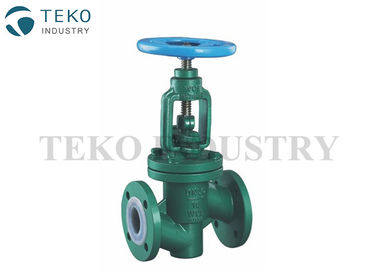 Straight Through PTFE PFA Lined Globe Valve PN10/16 Presssure For Aggressive Liquid