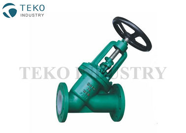 Fluoropolymers Lined PTFE Lined Globe Valve Y Pattern With Small Pressure Drop