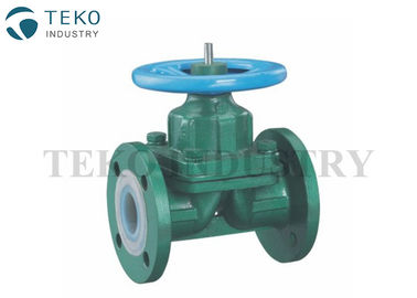 Plastic PTFE Lined Diaphragm Valves Full Bore Through Type For High Corrosive Liquid